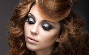 стиль, девушка, портрет, взгляд, губы, лицо, макияж, прическа, ресницы