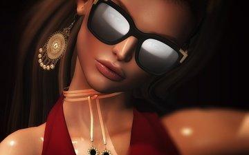 стиль, девушка, портрет, взгляд, очки, рендеринг, губы, лицо, сёрьги
