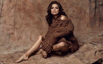 стиль, девушка, поза, модель, сидит, ножки, макияж, мода, свитер