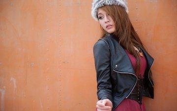 стиль, девушка, взгляд, волосы, шапка, азиатка, кожаная куртка