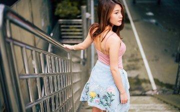 ступеньки, девушка, взгляд, профиль, волосы, лицо, азиатка