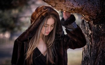 tree, blonde, model, long hair, coat, closed eyes, cyril max