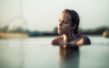 girl, look, face, wet, in the water, bare shoulders, jacky art