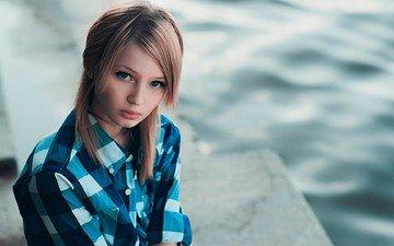 блондинка, портрет, модель, лицо, голубые глаза, рубашка, длинные волосы