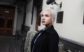 портрет, модель, лицо, белые волосы