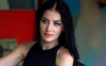 девушка, портрет, модель, лицо, голубые глаза, длинные волосы