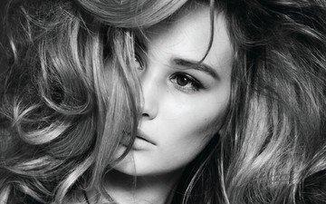 девушка, портрет, чёрно-белое, модель, лицо, длинные волосы, anna wasacz carter