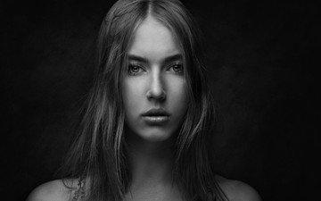 девушка, портрет, чёрно-белое, модель, лицо, длинные волосы, zachar rise