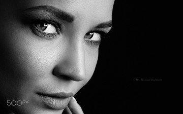 глаза, портрет, чёрно-белое, модель, лицо, ангелина петрова, michael hofmann