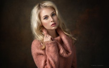 глаза, девушка, блондинка, портрет, взгляд, волосы, лицо, макияж, свитер, кристина, dennis drozhzhin, денис дрожжин