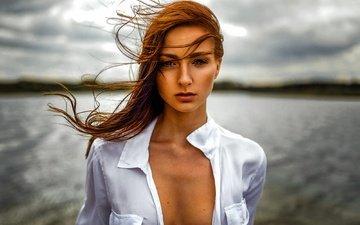 девушка, взгляд, модель, волосы, лицо, ветер, декольте, миро hofmann, lissy
