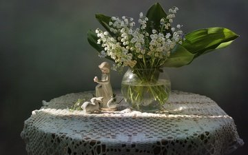 flowers, girl, lilies of the valley, spring, bunny, still life, figure, porcelain