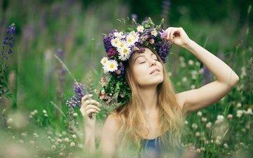 цветы, девушка, настроение, луг, венок, алина