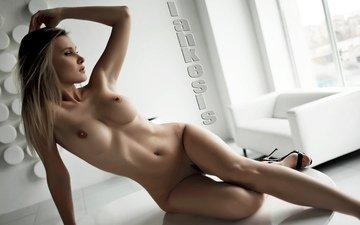 девушка, блондинка, волосы, голая, сексуальная