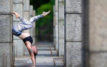 девушка, боке, стойка, йога