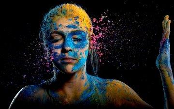 девушка, фон, краски, цвет