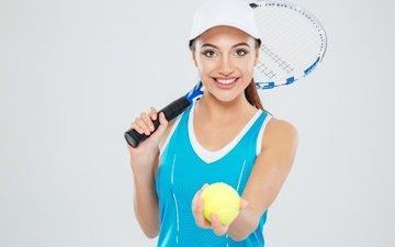 девушка, фон, улыбка, теннис, ракетка, мячик, кепка, майка, спортсменка