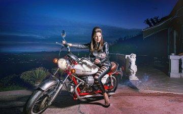 девушка, модель, мотоцикл, харлей, харлей дэвидсон