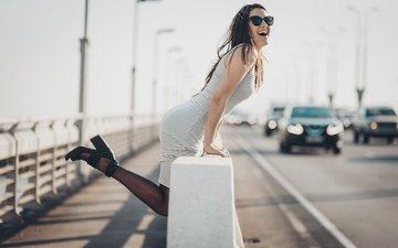 девушка, настроение, мост, город