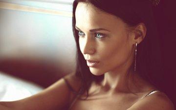 девушка, портрет, брюнетка, взгляд, человек, женщины, лицо, кожа, голубые глаза, фотография, мода, длинные волосы, супермодель, ангелина петрова, глава