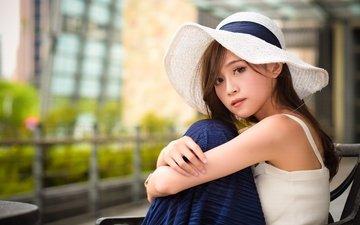 девушка, шляпа, азиатка