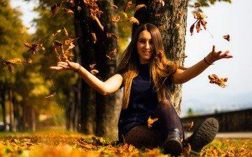 природа, листья, девушка, осень, модель, сидит, волосы, лицо, эмоции