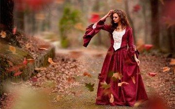 листья, стиль, девушка, платье, осень, девушки, ветер