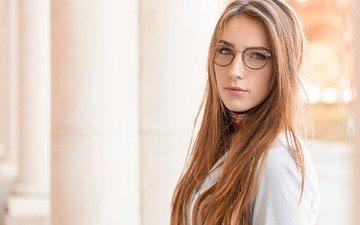 портрет, очки, модель, лицо, длинные волосы
