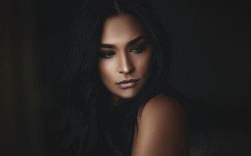 девушка, портрет, модель, лицо, длинные волосы, alex heitz