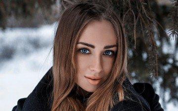 forest, winter, girl, portrait, model, lips, face, sweetheart, pine, brown hair, the beauty, blue-eyed, olya