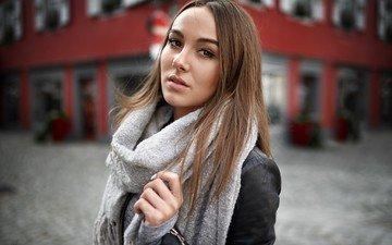 девушка, портрет, модель, длинные волосы, шарф, кожаная куртка, alex fetter