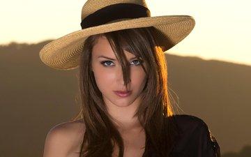 девушка, портрет, брюнетка, взгляд, девушки, модель, волосы, шляпа, малена морган