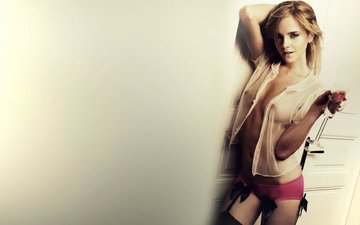 blonde, panties, chest, stockings, actress, emma watson, tummy, red panties, belly button, small breasts, papillae, transparent shirt, chiseled figure, bare chest