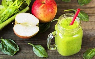 зелень, листья, яблоки, кружка, трубочка, 3, боке, сок, смузи