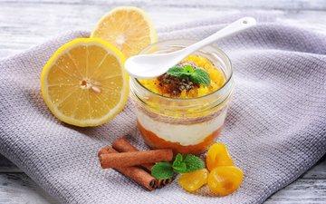 мята, мороженое, корица, апельсин, стакан, десерт, лимоны, курага
