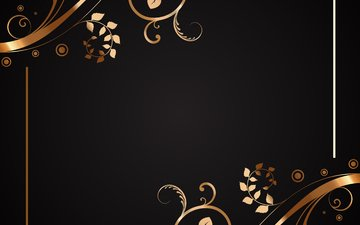цветы, текстура, узор, блака, золотая, флористика