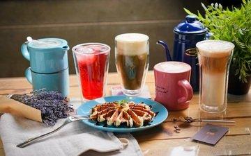 лаванда, кофе, коктейль, напитки, стакан, выпечка, сок