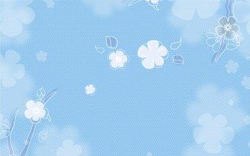 цветы, текстура, фон, винтаж, голубой фон, веты