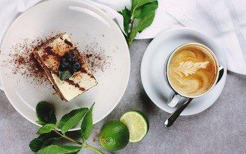 кофе, чашка, лайм, десерт, капучино, пенка, кусок торта
