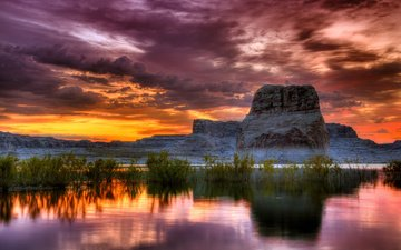небо, облака, горы, скалы, закат, рассвет, водоем, даль