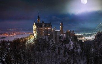 природа, зима, фото, замок, германия, нойшванштайн