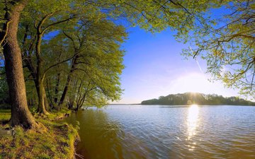 озеро, закат, остров