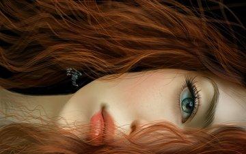 арт, девушка, взгляд, рыжая, волосы, губы, лицо, глаз
