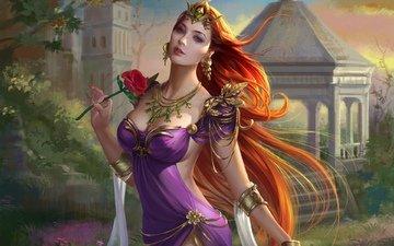 арт, украшения, девушка, платье, цветок, роза, взгляд, корона, принцесса