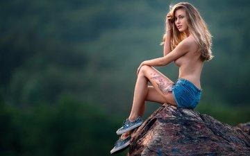 girl, background, pose, stone, tattoo