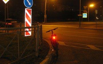 дорога, ночь, город, улица, фонарь, велосипед, байк, стопсигал, габарит