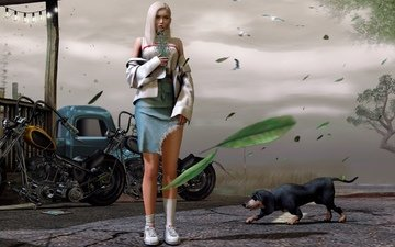 girl, dog, street