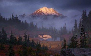 небо, деревья, озеро, скалы, лес, тучи, туман, гора, сша