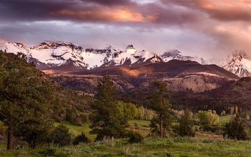 the sky, clouds, trees, mountains, forest, panorama, usa, valley, colorado, san juan mountains