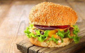 бутерброд, гамбургер, сыр, мясо, салат, чизбургер